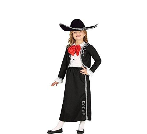 Junge Kostüm Mariachi (Kinderkostüm Mariachi Mädchen Jacke Rock schwarz Mexikanerin Fasching (5-6)