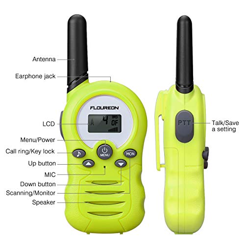 FLOUREON Ricetrasmittente 8 Canali 2 x Walkie Talkies PMR446MHZ per Bambini 2 Way Radio Interphone PortatileFino a 3300 Metri / 2 Miglia, Verde