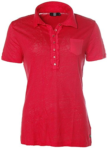 JETTE Polo da donna T-Shirt Polo da balze in lino Rosso