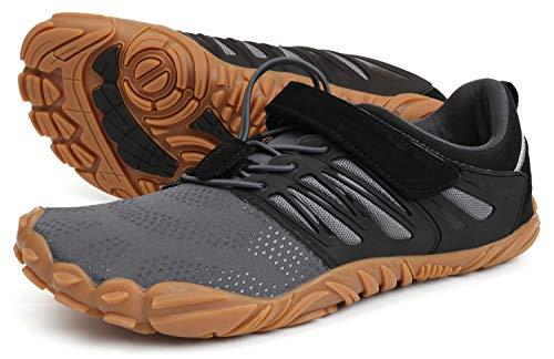WHITIN Herren Traillaufschuhe Zehenschuhe Barfußschuhe Fitnessschuhe Für Männer Straßenlaufschuhe Mit Klettverschluss Atmungsaktiv Straßenlaufschuhe Grau Größe 46