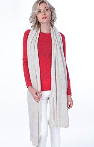 100% en cachemire - Écharpe extra grande - Châle tricoté pour femme - par CASHMERE 4 U Crème(Blanc)