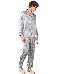 CX-Store Conjunto De Pijamas De Satén Sedoso para Hombres Ropa De Dormir Batas Ropa