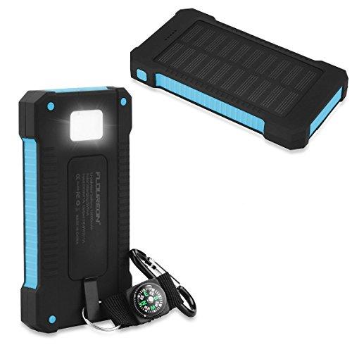 FLOUREON Batterie Externe Portable, Chargeur Solaire Étanche 10000mAh