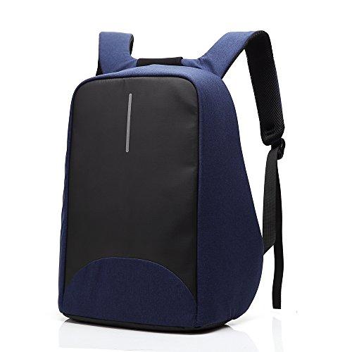 Sac à dos Antivol Sac pour ordinateur portable avec fermeture à glissière anti-voleur et USB Chargement Sac à dos décontracté imperméable-Bleu