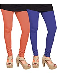 CAY 100% Cotton Combo of Orange and Blue Color Plain, Stylish & Most Comfortable Leggings For Girls & Women with Full Length (SIZE : Free Size)