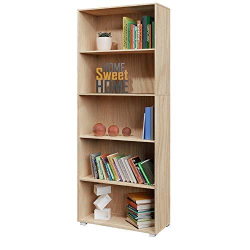 Deuba Standregal Bücherregal Vela 190cm Eiche 5 Fächer Wandregal Ordner Regal Holz - weitere Modell- & Farbauswahl