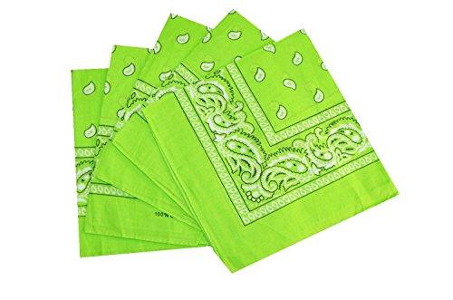 Lot de bandanas 100% Coton paisley foulard fichu - Vert Pomme - Lot de 10 identiques