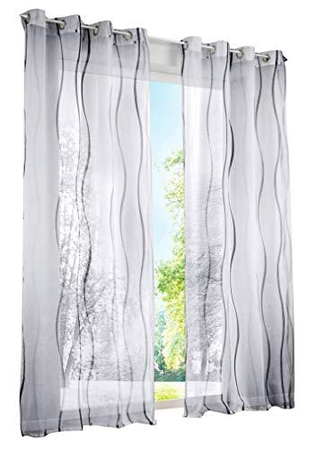 BAILEY JO 1er-Pack Gardinen mit Wellen Druck Design Vorhang Transparent Voile Vorhänge (BxH 140x145cm, Grau mit Ösen)