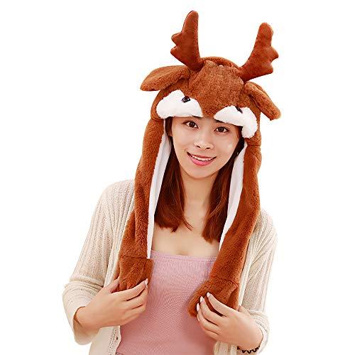 sch Tier Ohr Hut Spielzeug Hasenmütze Stirnband Tiermütze Einhorn-Hüte Bunny Ohren mit Beweglichen Ohren Cosplay Kostüm für Dame Mädchen Erwachsene Kinder (60CM, Elk) ()