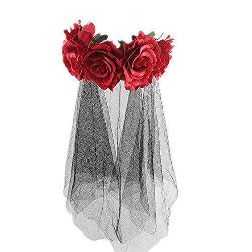 y Hochzeit Brautschleier mit Haarband-1 Tier Black Rose Blume Schleier Bar Party Haarschmuck Kopf Schnalle Halloween Cos Dress Up Stirnband,C ()