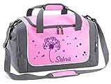Mein Zwergenland Sporttasche in Rosa mit Namen, 38 L, Pusteblume in lila 61