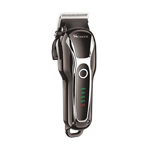 SURKER SK-803 Pro High Performance Elektrische Haarschneider , Haarschneidesatz, Wiederaufladbare Haarschneider mit und ohne Kabel Haarschneiden mit 4 Führungskämmen Körperhaarpflege Set groß für Friseure und Stylisten einstellbare Flügel schwarz überlappen