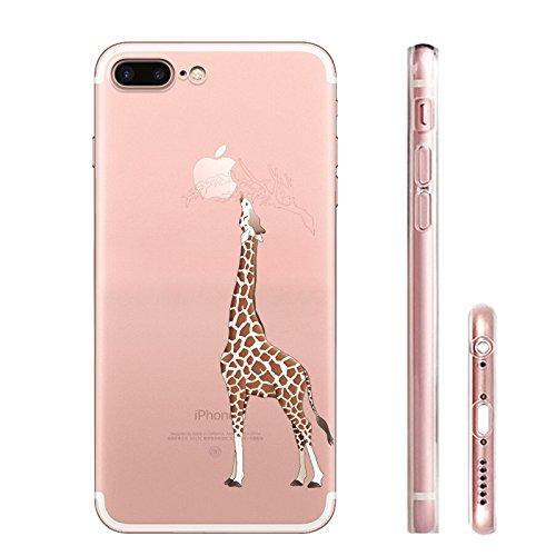 IPhone 7 plus Hülle, Schutzhülle Case Silikon- Clear Ultra Dünn Durchsichtige Backcover TPU Case für iPhone 7plus 6splus Giraffe