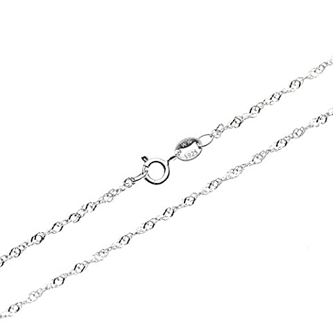 SWEETV 925 Sterling Silver 1mm Singapore Chain Necklace for Pendants - Thin Italian Fashion Jewelry,