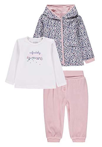 Kanz Baby-Mädchen 3tlg. Set (Jacke + T-Shirt 1/1 Arm + Jogginghose) Bekleidungsset, Mehrfarbig (Allover|Multicolored 0003), (Herstellergröße: 68)