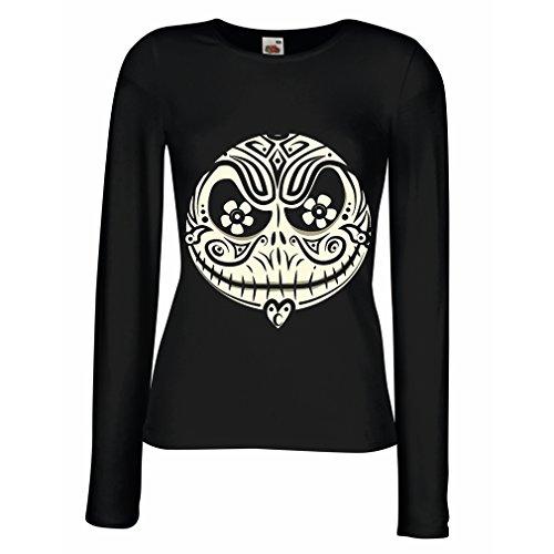 Weibliche Langen Ärmeln T-Shirt Das Schädel-Gesicht - Der Alptraum - gruselige Halloween-Nacht (XX-Large Schwarz Mehrfarben)