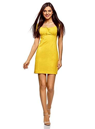 oodji Ultra Damen Baumwoll-Kleid mit Raffungen auf der Brust, Gelb, DE 42 / EU 44 / XL (Ein Kleid Schuhe Für)