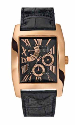 Guess Guess Dress Steel 13506G1 - Reloj analógico de caballero de cuarzo con correa de piel negra