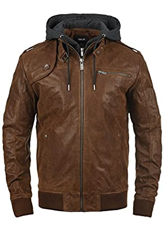SOLID Ash - Veste en cuir véritable- Homme, taille:3XL, couleur:Cognac (5048)