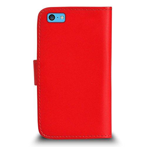POUR Apple iPhone 5C - SHUKAN® Prime Cuir VERT Portefeuille Cas Coque Couverture avec Rétractable Toucher Style Stylo VERT Cap Protecteur d'écran & Tissu de polissage ROUGE