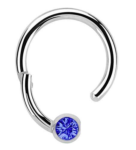 Modern Nature Piercingschmuck Piercing 316l Stahl Ring BCR, Clicker 1,2 x 10 mm mit 3 mm Steinkugel in dunkelblau