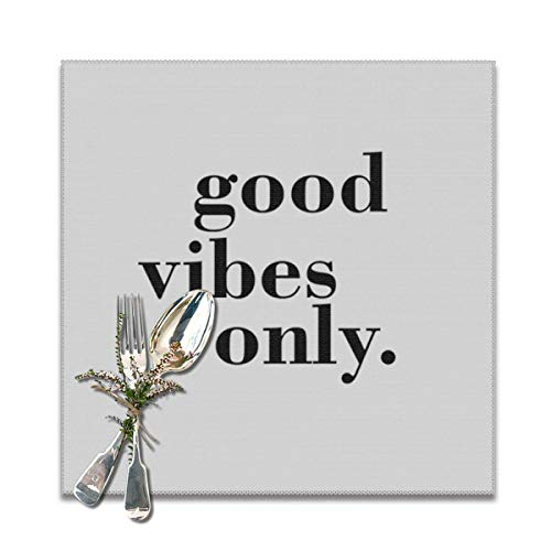 Hectwya Good Vibes Only Quotes Placemats,Heat-Resistant Washable Cotton Placemats,Polyester Linen Dining Table Mats for Kitchen,Set of 6
