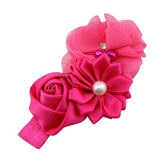 LUGOW Damen Baby Mädchen Blume Perle Blume Stirnband Hairband Haarschmuck Geschenk Haarband Headwraps Zubehör Hairbeads Haarreife Haargummis Haarschmuck(Pink)