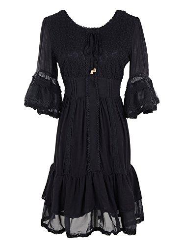 Kleid Rüschen (Anna-Kaci Schwartz Sahnespitze Blumen Rüschen Glockenärmel Bauer Bluse Krawatte kurzes Kleid)