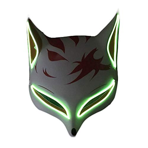 Kostüm Katze Coole - Clluzu Party Maske LED Glow Away von menschlichen Fuchs Maske Halloween Karneval Nacht Ghost Dance Katze Gesicht Männer und Frauen 20 * 25 cm