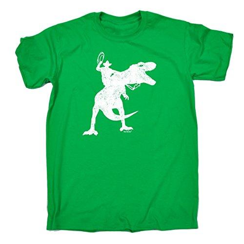 123t Slogans - Herren Lose Passform T-Shirt Cowboy Dinosaurier Design - Large, Kelly Grün