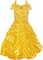 Relibeauty - fille - Robe de princesse avec bretelles Déguisement de La Belle et La Bête cosplay jupe ruché Tenue de conte de fée pour enfant boucle amovible