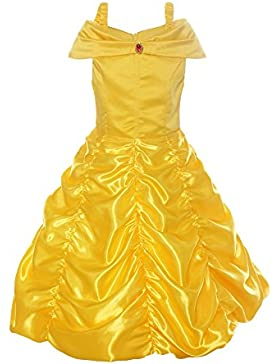 ReliBeauty Girls Dress Belle Cosplay Costume Ragazza Vestiti Abito Principessa Disney Costumi Vestire
