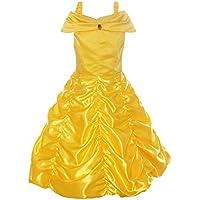 ReliBeauty fille – Robe de princesse avec bretelles Déguisement de La Belle et La Bête cosplay jupe ruché Tenue de conte de fée pour enfant boucle amovible
