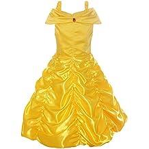 ReliBeauty Girls Dress Belle Cosplay Costume Ragazza Vestiti Abito Principessa Disney Costumi Vestire
