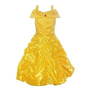 ReliBeauty Girls Dress Belle Cosplay Costume Ragazza Vestiti Abito Principessa Disney Costumi Vestire, Giallo, 6-7 anni