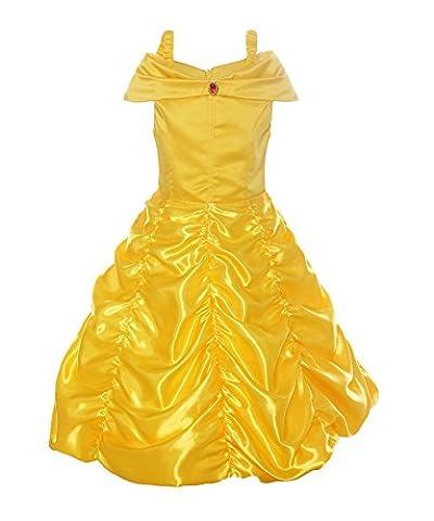Relibeauty – fille – Robe de princesse avec bretelles Déguisement de La Belle et La Bête cosplay jupe ruché Tenue de conte de fée pour enfant boucle amovible (Jaune, 3-4 ans)