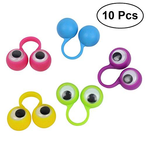 TOYMYTOY 10 STÜCKE Finger Ringe Spielzeug mit Augen für Kinderparty Mitgebsel(gelegentliche Farbe)