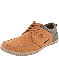 Stylish Casual Wear Laced Up Tan Synthetic Leather Shoes/ Boots For Men & Boys