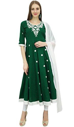 Atasi Ethnic Designer Green Stickerei Baumwolle Anarkali Anzug Damenbekleidung-36 -