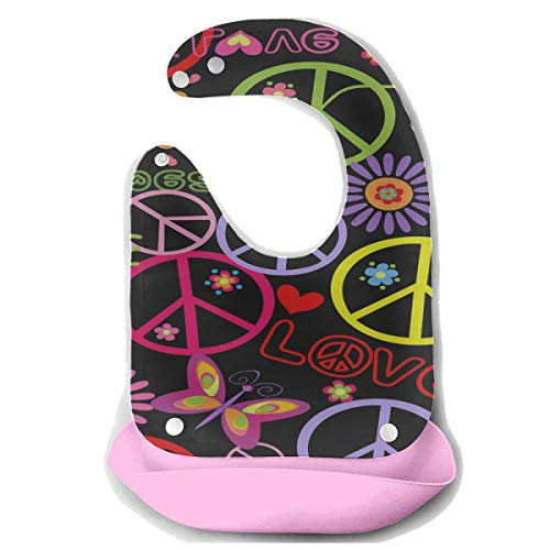 Enhusk Große Lätzchen Mädchen Hippie Tapete Mit Friedenssymbol Pilze Und Abnehmbare Silikon Fütterung Schürze Maus Handtuch Baby Fütterung Dribbeln Sabber Lätzchen Säuglingslätzchen Für Jungen -
