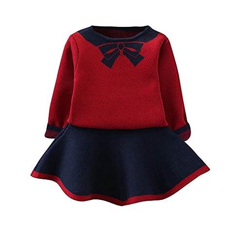Toamen Bébé enfants Filles Manches longues tricoté arc tutu Tops Pull+Jupe Ensemble (7 Ans, Rouge)