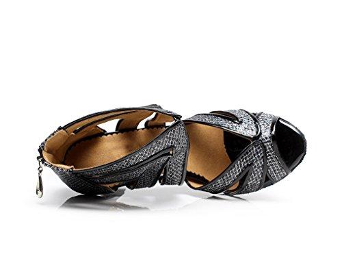Minitoo qj7032da donna a rete Glitter Salsa Latina caviglia scarpe da ballo Grigio (grigio)