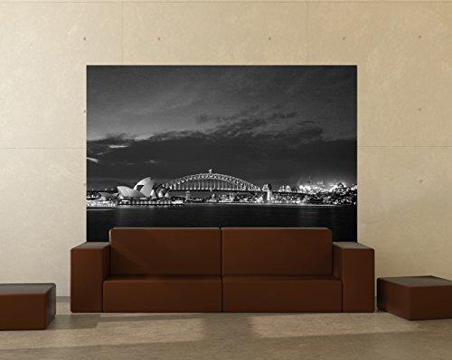 Vlies Fototapete - Sydney Opera House und die Harbour Bridge - schwarz weiss - 180x120 cm - inklusive Kleister - Tapetenkleister – Bild auf Tapete – Bildtapete – Foto auf Tapeten – Wand – Wandtapete – Vliestapete – Wanddeko - Design