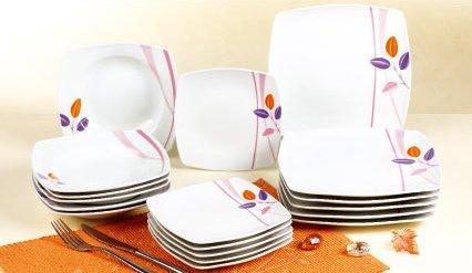 Topkapi, servizio da tavola Corinna, in porcellana, set per la colazione per 6 persone (18 pezzi)