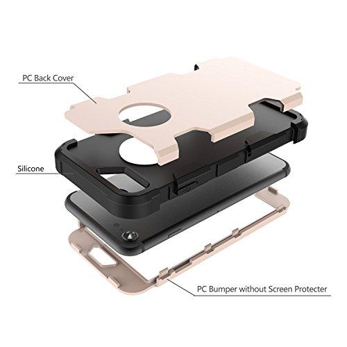 Custodia per Apple iPhone 8 in Plastica Dura Rigida, Girlyard 3 in 1 Hard PC Ultra Slim Protettiva Posteriore Copertura Bumper Antiurto Antigraffio Case Cover per iPhone 8 4.7 Disegni Oro Rosa Rosa Oro Nero