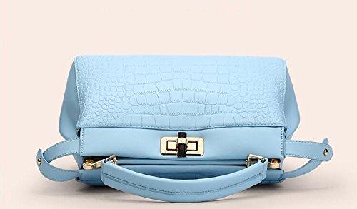 LDMB Damen-handtaschen Frauen PU-lederne große Kapazitäts-prägeartige Schulter-Beutel-Kurier-Handtaschen-justierbare einfache wilde Einkaufstasche Light Blue