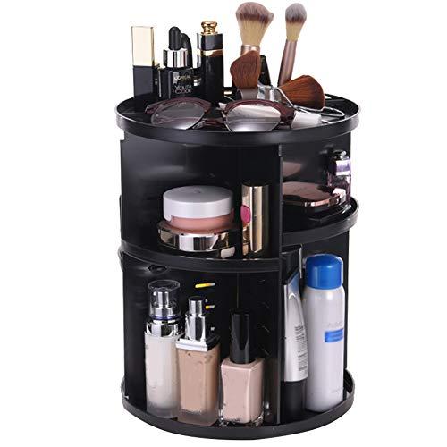 Quemu Co.,Ltd. Organiseur de Maquillage Rotation de 360 degrés Cosmétique de Stockage – Réglable Amovible Grande capacité Boîte de Rangement pour crèmes/pinceaux de Maquillage/Rouge à lèvres