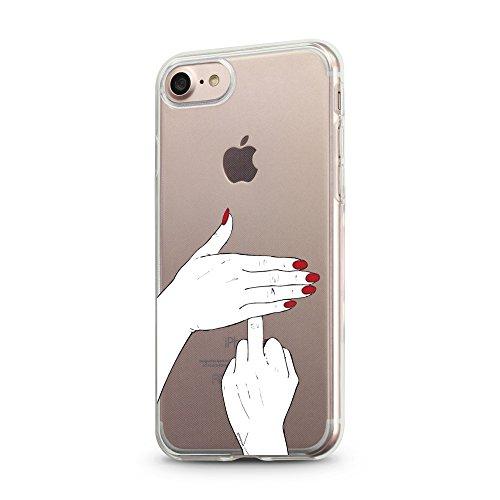 iPhone 7 / iPhone 8 Hülle AVANA® Schutzhülle flexibles Case Etui Schutz durchsichtige Tasche transparente Silikon + TPU Schale Apple Handyhülle Cover Motiv (Flamingo) fuck you