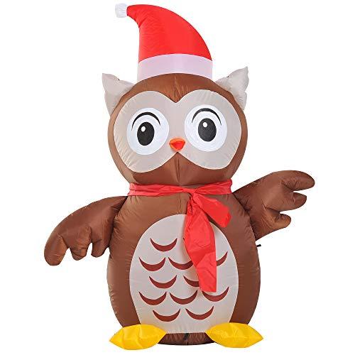 Homcom gufo gonfiabile gigante luminoso con cappello di babbo natale interno esterno decorazione natalizia altezza 1.2m