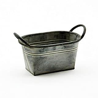 AcaciaHome Metal Garden Flower Planter Trough Tub Bucket Galvanised Wedding Decor 26cm